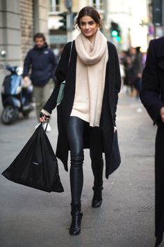 Black coat, beige scarf sweater, black leggings, shoes. Street winter fall autumn women fashion @roressclothes closet ideas