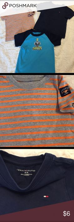 Bundle of 18 Month boys t-shirts Adorable Striped Little Pilot in Training by Carter's; Minimal pilling. Navy Tommy Hilfiger in very good condition. I Call the Shots with mesh sleeves by Garanimals; very good condition. Smoke free/cat free/clean home. Shirts & Tops Tees - Short Sleeve