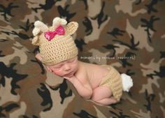 Check out this item in my Etsy shop https://www.etsy.com/listing/229239585/precious-moment-deer-hat-and-diaper