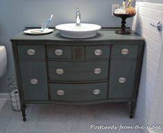 """Postcards from the Ridge: """"Why be normal?"""" The upcycling of our dining room buffet into our master bath vanity. Postcards from the Ridge: """"Why be normal?"""" The upcycling of our dining room buffet into our master bath vanity. Dresser Vanity Bathroom, Cheap Bathroom Vanities, Bathroom Sink Units, Master Bathroom Vanity, Bathroom Vanity Makeover, Cheap Bathrooms, Bathroom Furniture, Modern Bathrooms, Vanity Cabinet"""