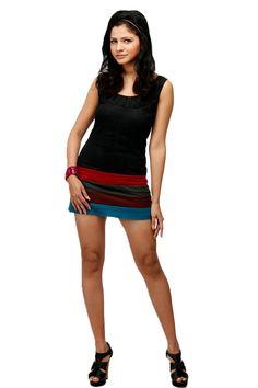Adam n' eve Black Multicolour Cotton Dress