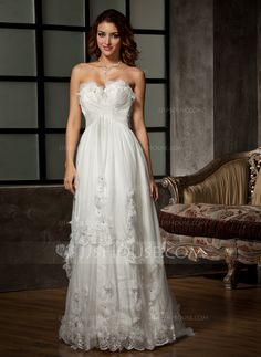 A-Line/Princess Sweetheart Sweep Train Satin Tulle Wedding Dress With Ruffle Beading Appliques Lace Flower(s) (002011515)