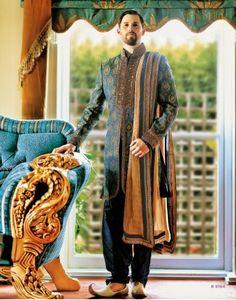 Vanshik Navy Blue Silk Embroidered Indo Western Sherwani
