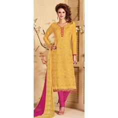 Unstitched Salwar Suit-Yellow With Pink Color Cotton Embroidery Work Unstitched Salwar Kameez Suit By Thambi shopping
