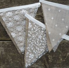 Lace & Hessian Bunting Wedding Shabby Chic Spots or Floral Vintage Rustic