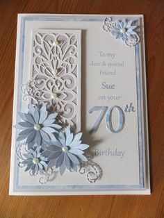 best ideas about Die cut cardsbirthday using Sue Wilson diescard with bed cutting dieIf die cut is too long, trim and cover cut with flowers or somethingLisa Willey's media statistics and analytics Birthday Cards For Women, Handmade Birthday Cards, Greeting Cards Handmade, Female Birthday Cards, 70th Birthday Card, Happy Birthday Cards, Special Birthday Cards, Wedding Anniversary Cards, Wedding Cards