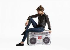 Boombox bean bag- Turn up that bass! Cool Bean Bags, Ethical Brands, Cool Gear, Boombox, Floor Cushions, Modern Man, Cool Furniture, Creative Design, Gray