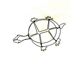 Turtle Wire Sculpture Wire Art Minimal Wire by WiredbyBud on Etsy