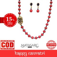 #Navratri Collection - Coral Malaysian Jades Necklace & Jadau barrel #beads @ #BigBillionDays https://www.mayasarc.com/product/heritage-jadau-focal-coral-malaysian-jade/1831-1844?utm_content=buffercc20d&utm_medium=social&utm_source=pinterest.com&utm_campaign=buffer