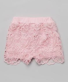 Take a look at the Pink Floral Lace Rhinestone Shorts - Infant, Toddler & Girls on #zulily today!