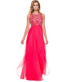 Watermelon Embellished Bodice Open Back Gown 2015 Prom Dresses