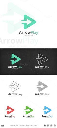 Arrow Play Logo by Seceme Shop on Creative Market Typography Logo, Logo Branding, Branding Design, Branding Ideas, Shop Logo, Arrow Signage, Environment Logo, Logos Ideas, Arrow Logo