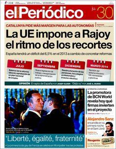 Los Titulares y Portadas de Noticias Destacadas Españolas del 30 de Mayo de 2013 del Diario El Periódico ¿Que le parecio esta Portada de este Diario Español?