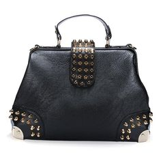 Sale 25% (34.56$) - New Fashion Rivet Handbags Retro Doctor PU Leather Shoulder Bags