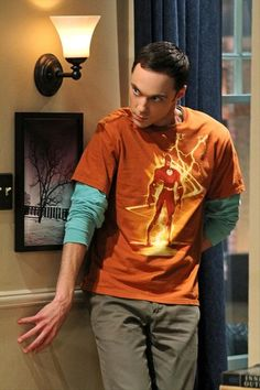 sheldon cooper wearing the flash tshirt