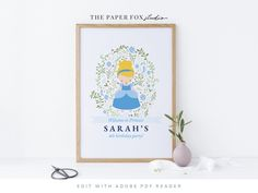 """Printable Cinderella 16x20"""" Welcome Sign, Editable Princess Cinderella Party Decor, Cinderella Birthday Party Poster, 0106 Custom Stationery, Wedding Stationery, Princess Aurora Party, Welcome Poster, Cinderella Birthday, Party Poster, Backdrops For Parties, 4th Birthday Parties, Party Signs"""