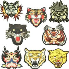 Tiger Embroidered Patch Animal Iron On Patch Set Clothes Decoration Fashion Custom Patches Embroidery Applique Sew on Patch Craft fabric These fantastic patches - these hot accessories of the season! Usage: perfect for the bag decoration, clothing, shoes, jackets, coat, T-Shirt, jeans,