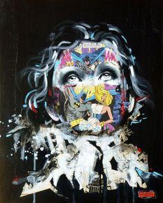 Pinceau www.sandrachevrier.com www.coagallery.com Sandra Chevrier, Cage, Portraits, Marvel, Fine Art, Prints, 2013, Fictional Characters, Design