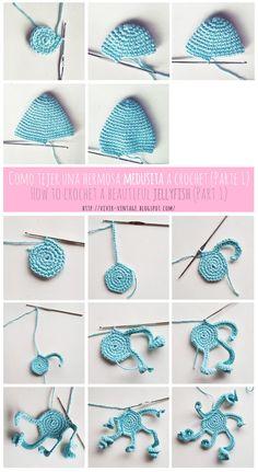 Best 10 free pattern jellyfish amigurumi crochet step by step pictures Crochet Fish, Crochet Octopus, Cute Crochet, Crochet Animals, Crochet Patterns Amigurumi, Crochet Dolls, Crochet Stitches, Knitting Patterns, Diy Crafts Crochet