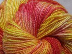 Handdyed Sparkle Sock Yarn in Bittersweet by dragonflydyeworks.