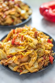 This Fried Cabbage recipe is insanely good! Made with bacon, onion, bell pepper, and hot sauce, it is easy to make and comes out perfect every time! Fried Cabbage Recipes, Bacon Fried Cabbage, Pasta Recipes, Cooking Recipes, Soup Recipes, Chicken Recipes, Vegetable Dishes, Vegetable Recipes, Vegetable Ideas