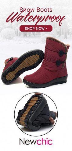 876c2de8d4a  52% off Women Waterproof Cloth Plush Lined Soft Buckle Snow Boots.