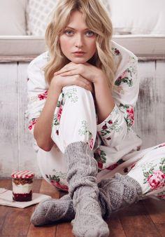 Ain't nothing like cosy socks and pjs / Grey Marl Cable Knit Socks- hush-uk.com