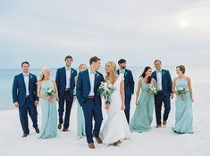 Beach Wedding Photos A natural seaside wedding in Juniper, Florida will a color palette of soft, seafoam blues and misty greens. - A natural seaside wedding in Juniper, Florida will a color palette of soft, seafoam blues and misty greens. Beach Wedding Bridesmaids, Beach Wedding Colors, Beach Wedding Reception, Beach Wedding Photos, Beach Wedding Decorations, Seaside Wedding, Blue Wedding, Dream Wedding, Wedding Parties