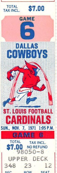 Nov 7, 1971 Full Ticket - Dallas at St. Louis