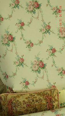 3-DBL-ROLLS-LOT-ENGLAND-Ivory-Blue-Pink-Sage-GARLAND-BOUQUET-Wallpaper-Pre-Paste