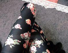 €2.79 Women's Retro Rose Flower Print Leggings Tights Pants Elasticity Thin (BLACK) FREE SHIPPING!