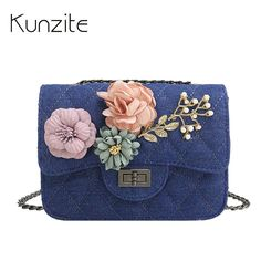 KUNZITE Luxury Handbags Women Bags Designer Flowers Mini Crossbody Bag Handbags Women Famous Brand Lady Bag 2017 Sac A Main Pink