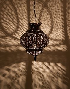 Moroccan Pierced Iron Ceiling Lamp
