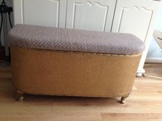 Vintage Gold Lloyd Loom Ottoman Bench Storage Shabby Chic