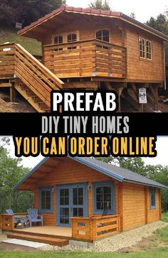 Prefabricated log cabin kits are very affordable and easy to assemble. Ordering is easy and safe. Stop dreaming and take a look - this project can be fun for the whole family! Small Log Cabin, Tiny House Cabin, Tiny House Living, Tiny House Design, Cabin Homes, Small House Plans, Diy Log Cabin, Small Cabins, Prefab Homes