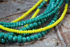 Teal Green & Yellow Matte Glass Crystals make a bold presence. On-Trend Bohemian, Boho style. Teal Necklace, Multi Strand Necklace, Turquoise Bracelet, Tribal Style, Boho Style, Tribal Fashion, Boho Fashion, Teal Green, Yellow