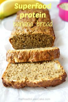 Superfood protein banana bread - a twist on the classic banana bread with a soft inside, crumbly crumb and a subtle nutty flavour, as well as a protein kick from some hemp protein powder. #banana #superfoods #protein