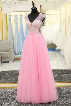 Pink tulle sequins V neck high waist long halter senior prom dress