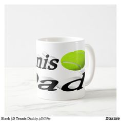 Black 3D Tennis Dad Coffee Mug