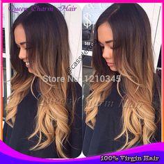 Online Shop 2014 Hot Sale New Human Wigs Ombre U Part Wig Fashion Wavy Virgin Brazilian Hair Three Tone Middle Side For Women Freeshipping  Aliexpress Mobile