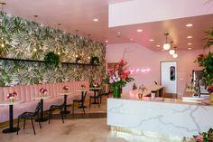Matcha San Diego Pink Cafe, Restaurant Design, Pink Restaurant, Restaurant Concept, Bar Design, Salon Design, Store Design, Pink Design, Restaurante Industrial