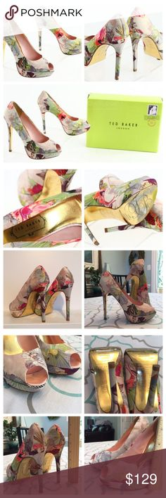 Ted Baker Sky High Heels 7.5 GORGEOUS TED BAKER FLORAL STILETTO PUMPS. Size 7 (38).  Ted Baker is a UK designer known for impeccable attention to detail, flawless designs, whimsy & humor. Ask me any questions! Leave lovely comments! Love them?? Like them!!  Get them before they're gone!!!  Ted Baker Shoes Heels