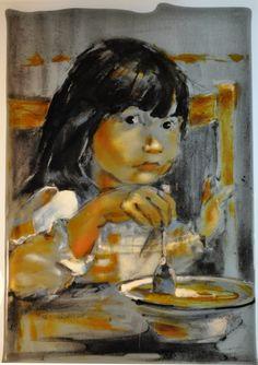 Fused glass drawing.  @Linda Bruinenberg Bruinenberg Bruinenberg Humphrey/kilnforms.