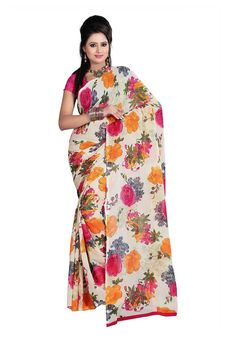 Fabdeal Off white & Pink Colored Dani Georgette Printed Saree