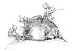 by Alan Lee. Making tangles in your hair.