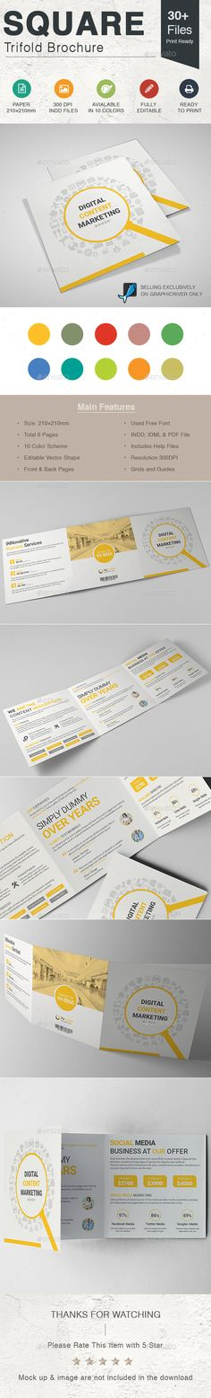 Content Marketing Square Trifold Brochure - Corporate Brochures