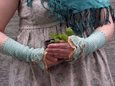 Minty Chitchat crocheted open work lacy wrist by hypericumfragile, via Etsy.