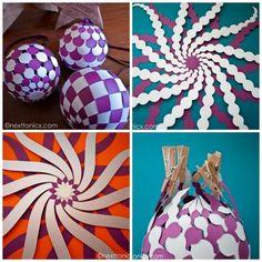 woven paper baubles: