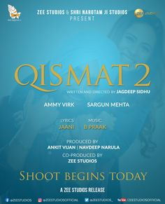 IT'S OFFICIAL... #AmmyVirk and #SargunMehta in sequel of their #Punjabi film #Qismat... Titled #Qismat2... Filming begins today... Directed by Jagdeep Sidhu... Produced by Shri Narotam Ji Studios and Zee Studios... 2021 release.