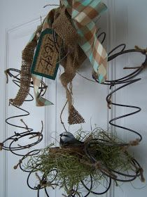 Beyond The Picket Fence: Spring (literally) Nest Wreath old bed springs.maybe add to barded wire wreath in garden Bed Spring Crafts, Spring Projects, Craft Projects, Craft Ideas, Decorating Ideas, Wreath Crafts, Diy Wreath, Diy Crafts, Wreath Ideas
